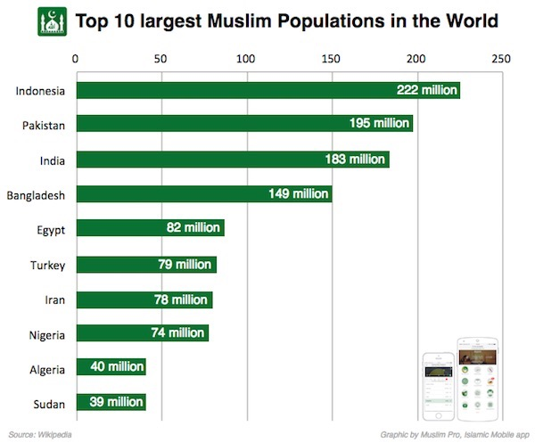 Top Largest Muslim Populations In The World Muslim Pro Help - World population list by religion